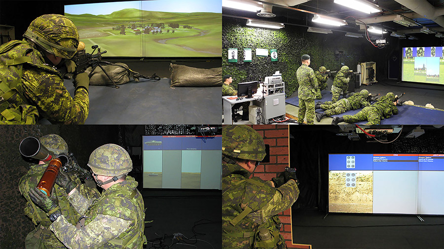 Slide - Soldiers in training on the Small Arms Training Simulator (SATS)