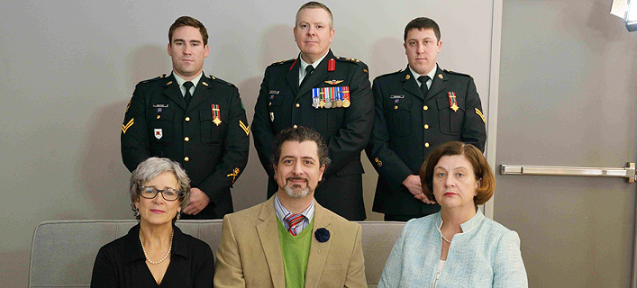 Margaret Lerhe (front left) Martin Magnan, Barbara Winters, Cpl Kyle Button (back left), Col Conrad Mialkowski and Cp1 Anthony Wiseman, have bonded since the tragedy and continue to support one another. Credit: Cpl Philippe Archambault