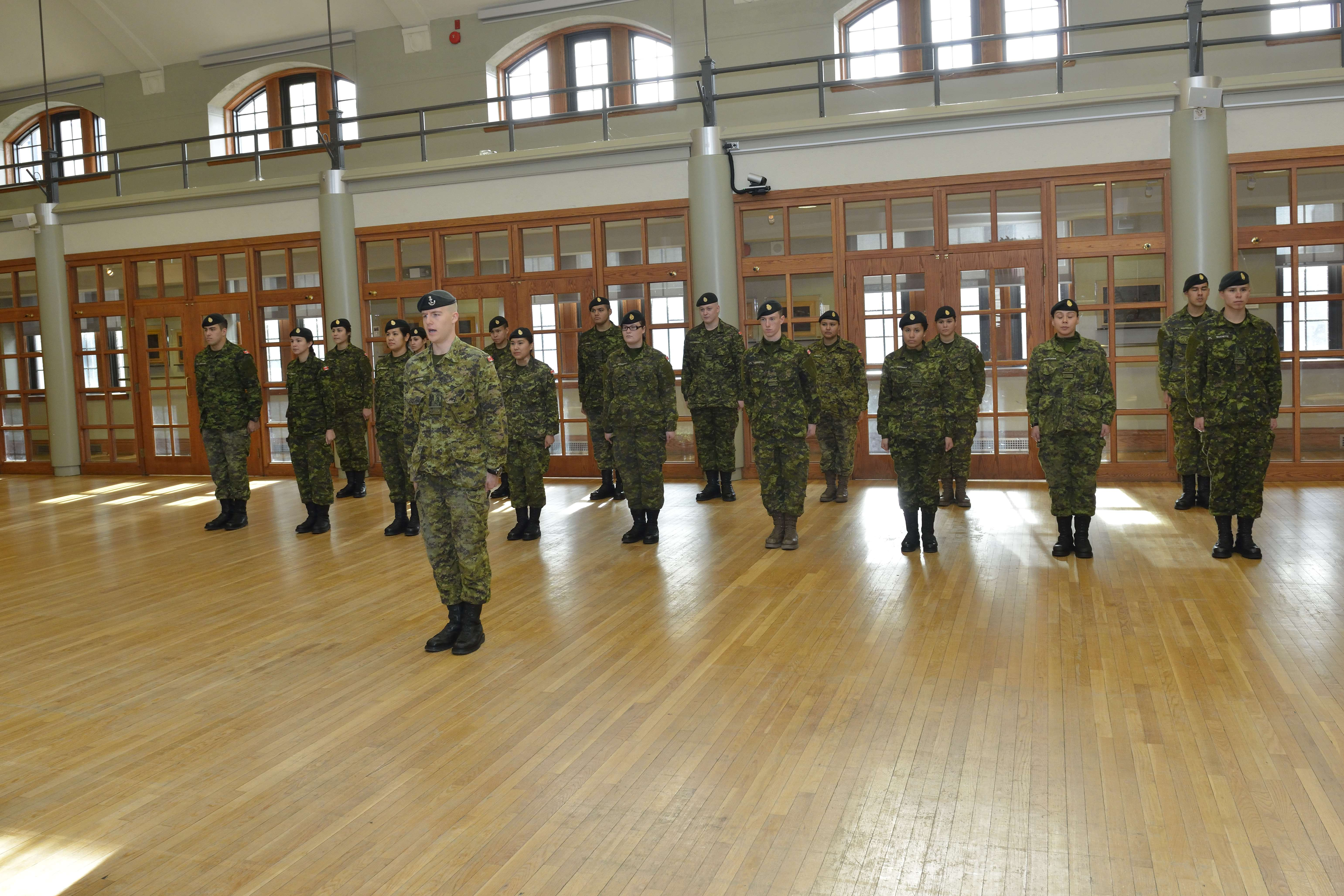Officer Cadet Huxton calls drill for the students from the Aboriginal Leadership Opportunity Year at the Royal Military College in Kingston, Ontario on December 2, 2014. Photo by: MCpl Kurt Visser, Directorate of Army Public Affairs