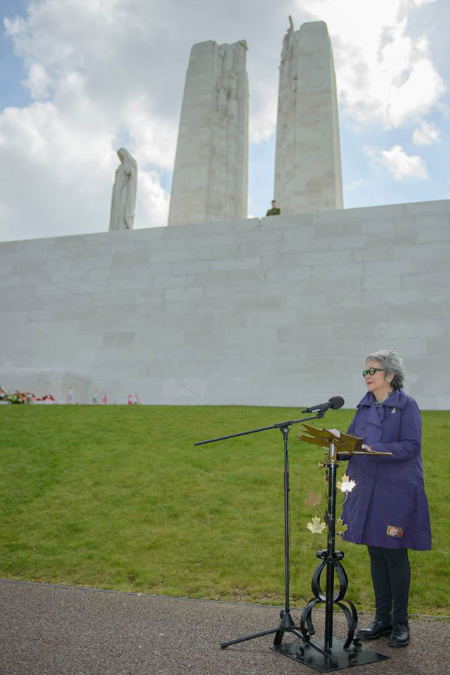 The Right Honourable Adrienne Clarkson, Colonel-in-Chief, Princess Patricia's Canadian Light Infantry (PPCLI), addresses the audience during the PPCLI Vimy Service at Vimy, France, on May 10th, 2015.Photo: MCpl Louis Brunet, Canadian Army Public Affairs, 3rd Can Div PA