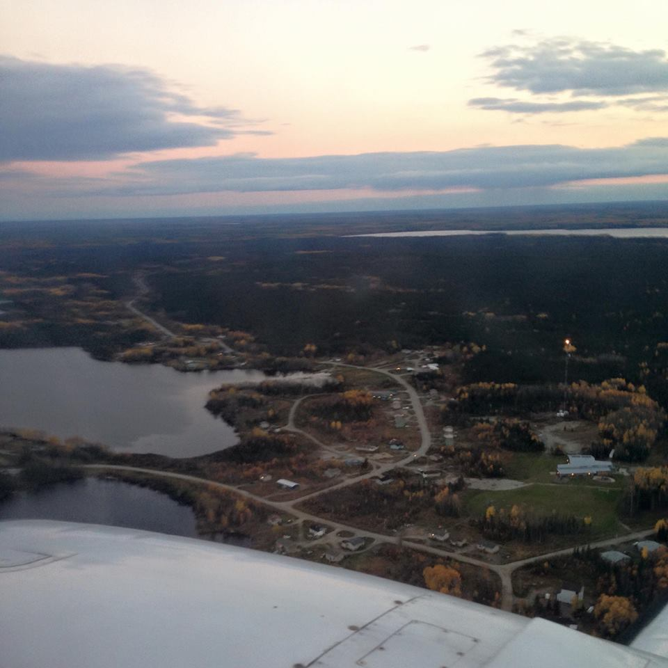 The view of the North Spirit Lake First Nation from the window of an airplane.