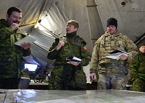 Members of 1 Canadian Mechanized Brigade Group participate in Exercise PHANTOM RAM 17 at 3rd Canadian Division Support Base Edmonton on February 8, 2017