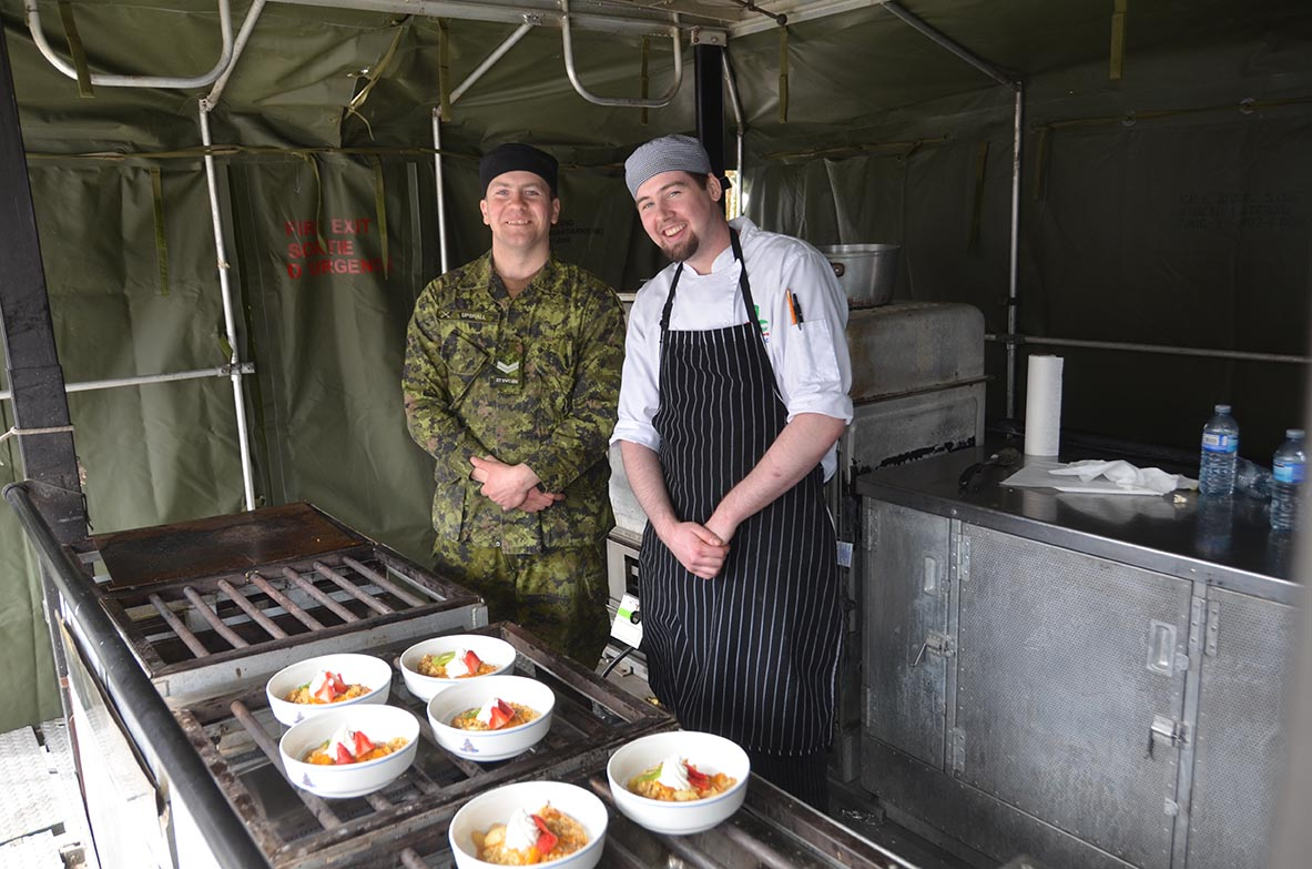 Corporal Jonathan Upsall of 37 Service Battalion and Alex Yorke of Nova Scotia Community College